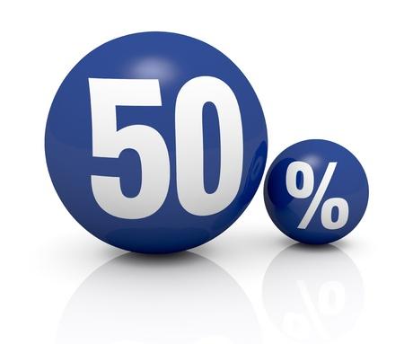 number 50: dos esferas azules, uno con el n�mero 50 y el otro con el s�mbolo de porcentaje (3d)