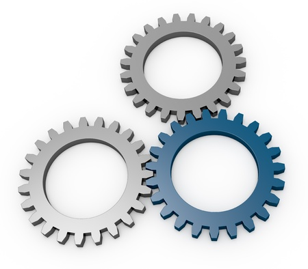 three gears with tone in different color (3d render) Stock Photo - 12826277