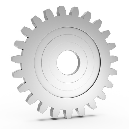 machinery machine: one gear with light reflection (3d render)