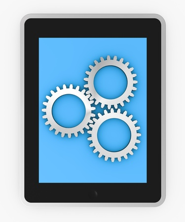 one tablet pc with three gears, concept of data processing (3d render) photo