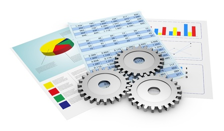 sales process: financial documents showing spreadsheet and charts, and gears (3d render)