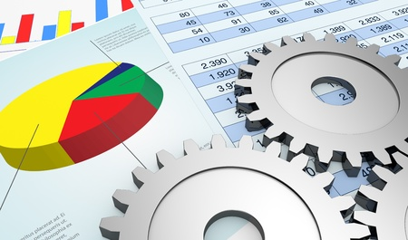 debt goals: financial documents showing spreadsheet and charts, and gears (3d render)