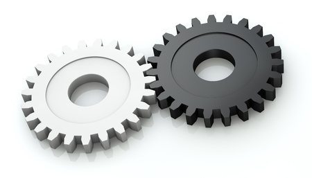 partnership power: two gears of different color (3d render)