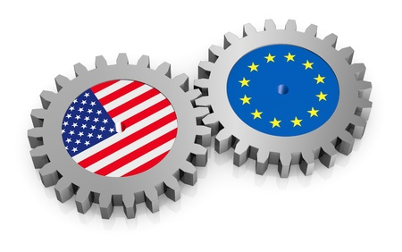 diplomacy: two gears with the flags of usa and europe (3d render)