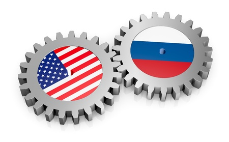 russia flag: two gears with the flags of usa and russia (3d render) Stock Photo