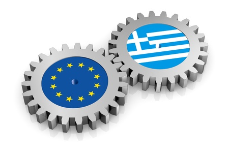 greek currency: two gears with the flags of europe and greece (3d render)
