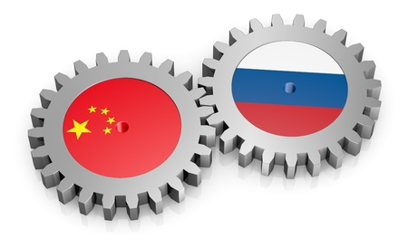 friend nobody: two gears with the flags of russia and china (3d render) Stock Photo