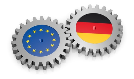 friend nobody: two gears with the flags of europe and germany (3d render)