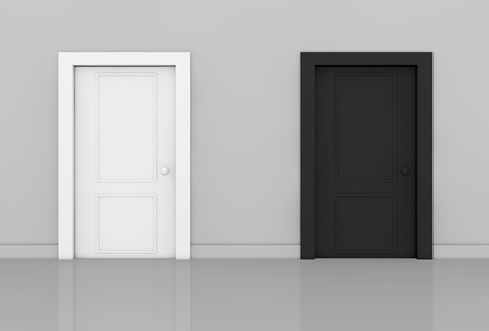 view of a room with two doors of different color (3d render)