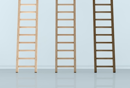front view of a wall with three ladders of different color. the top end of the ladders is not visible (3d render) Stock Photo - 12979302