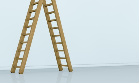 view of a wall with one ladder on the left. the top end of the ladder is not visible. the right part of the wall is empty for custom text  or images(3d render) photo