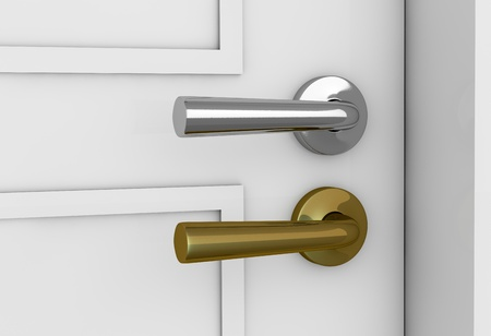 closed door: closeup of a door with two handles of different color (3d render) Stock Photo