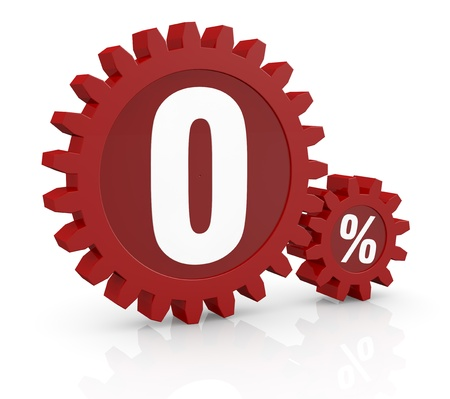 bank rate: one percent icon made with two red cogwheels and the number 0