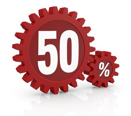 number 50: uno por ciento icono de hecho con dos ruedas dentadas de color rojo y el n�mero 50