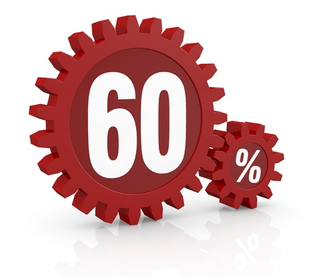 one percent icon made with two red cogwheels and the number 60 photo