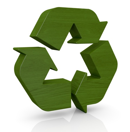 ecological environment: one recycling symbol made with wood (3d render)