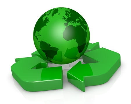 one recycling symbol with a earth globe on center (3d render) photo