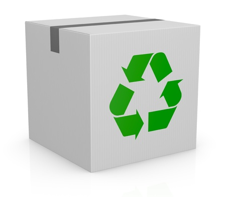 one white carton box with the recycling symbol printed on one side (3d render) Stock Photo - 12979214