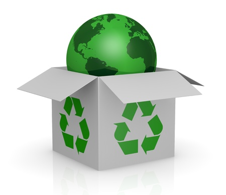 one white carton box with the recycling symbol printed on the sides and a earth globe that goes out from it (3d render) photo