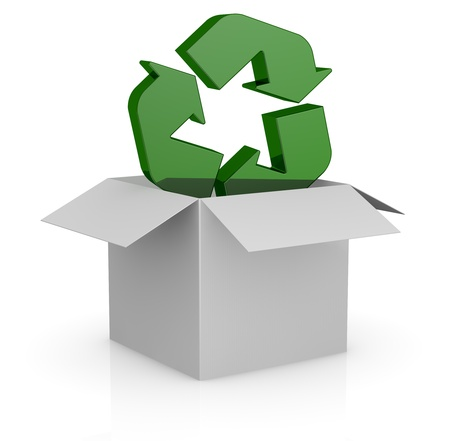 one white carton box with the recycling symbol that goes out from it (3d render) photo