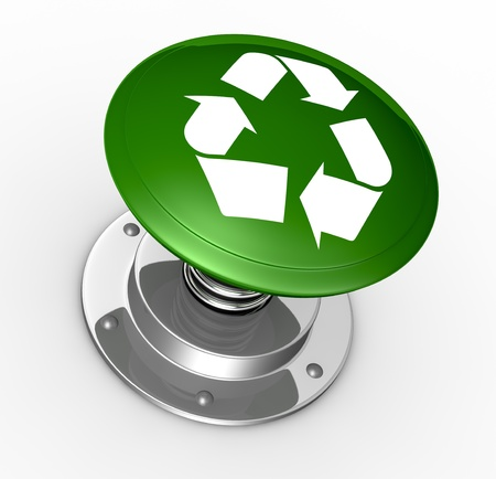 one big push button with the recycling symbol (3d render) photo