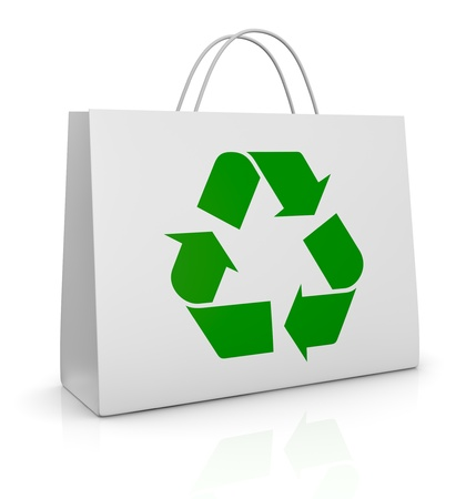 one white shopping bag with the recycling symbol printed on it (3d render) photo