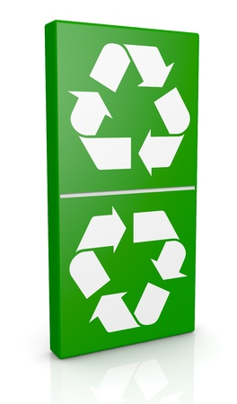 one domino piece with recycling symbols (3d render) photo
