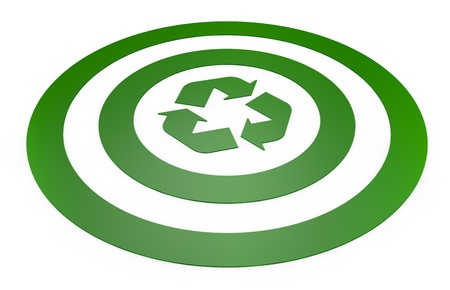 recycling center: one green target with a recycling symbol at the center (3d render)