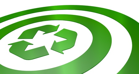 one green target with a recycling symbol at the center (3d render) photo