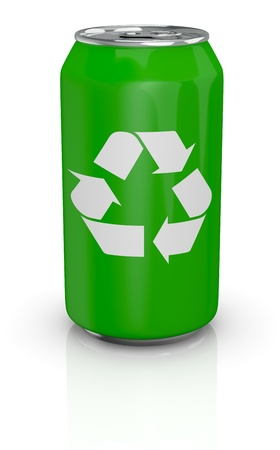 one green aluminium can with the recycling symbol printed on it (3d render)