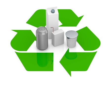 top view of a recycling symbol with several packages made with recycling materials at the center (3d render) photo