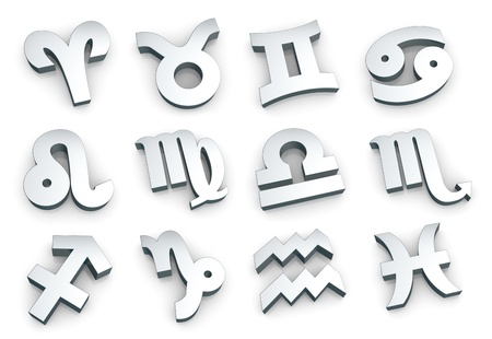 set of all of the zodiac signs made with steel (3d render) photo