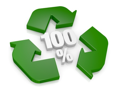 recycling center: top view of a recycling symbol with the number 100 and the percent symbol at the center (3d render) Stock Photo