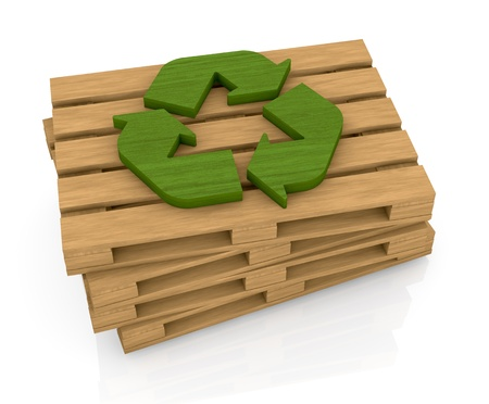 pile reuse: one stack of wooden pallets with a recycling symbol on top, a concept of  transport and packaging eco sustainable (3d render)
