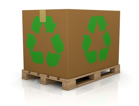 one wooden pallet with a big carton box with the recycling symbol on both sides, a concept of  transport and packaging eco sustainable (3d render) photo
