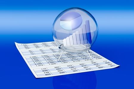 one crystal ball with a bar chart and a pie chart inside it and a paper with a spreadsheet, a concept of financial and business forecasts (3d render) Stock Photo - 13060088