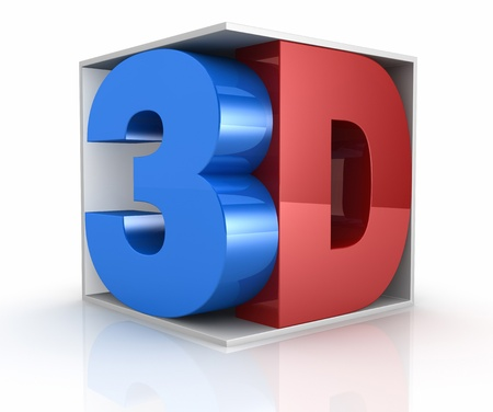 three dimensional shape: the word 3d colored with blu and red inside a cube, a concept of new movie technologies (3d render)