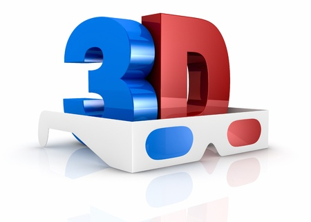the word 3d colored with blu and red with 3d glasses, a concept of new movie technologies (3d render) photo