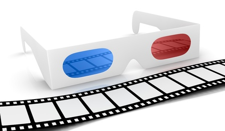 3d glasses with blue and red lens and a film strip in front of it, concept of new movie technologies (3d render) Stock Photo - 13060062
