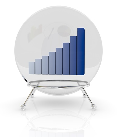 one crystal ball with a bar chart inside it, a concept of financial and business forecasts (3d render) photo