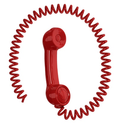 handset: one vintage handset with a spiral cable around it, resembling the email symbol (3d render)