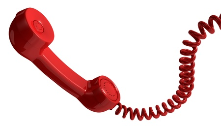 one vintage handset with a spiral cable (3d render) photo