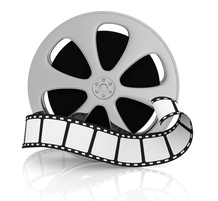 front view of a film reel with a film strip in front of it (3d render)