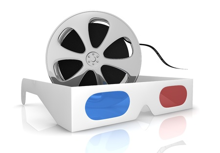 3d glasses with blue and red lens and a film reel, concept of new movie technologies (3d render) photo
