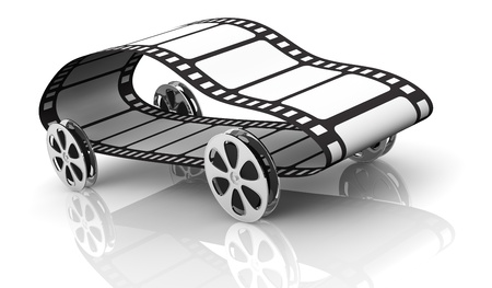 action movie: one car made with four film reels as wheels and a film strip, concept of film industry or action movie, but also fast movie streaming (3d render) Stock Photo