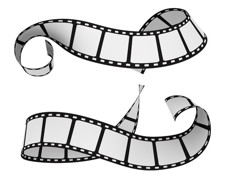film industry: two film strip isolated on white (3d render) Stock Photo