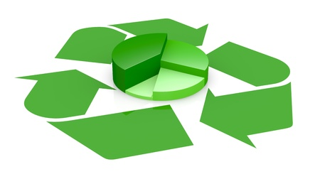 one recycling symbol with a pie chart in center of it, that means growing of concepts of eco sustainability (3d render) photo