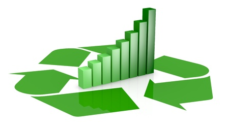one recycling symbol with a bar chart in center of it, that means growing of concepts of eco sustainability (3d render) photo