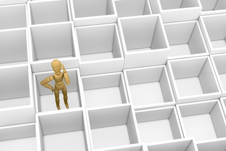 top view of many empty boxes with a wooden dummy inside one of them. the dummy is thinking about what to do (3d render) photo