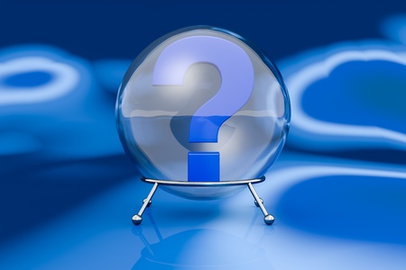front view of one crystal ball with a question mark inside it (3d render) Stock Photo